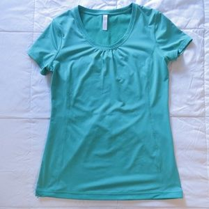 Lucy Althectic Shortsleeve Teal Mesh Floral Top